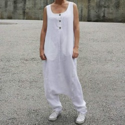 Sleeveless Long Harem Overalls Drop Crotch  Dungarees