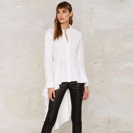 Asymmetric Hem Ruffle White Shirt