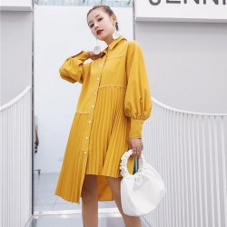Asymmetrical  Lantern Long Sleeve Pleated Hem Dress