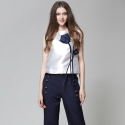 Floral blouse  Appliques Patchwork Sleeveless