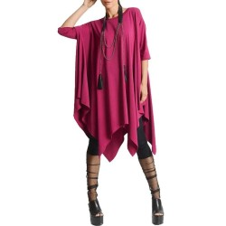 Batwing Sleeve Asymmetric Hem Loose Oversized  Dress