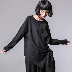 Patchwork O Neck Long Sleeve Top