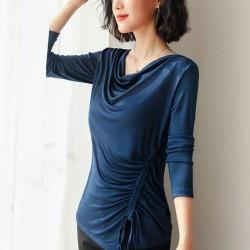 Round Neck  Drawstring Large Size Long-sleeved Shirt