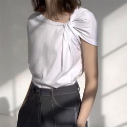 Ruched Basic T Shirt Short Sleeve Big Size Irregular