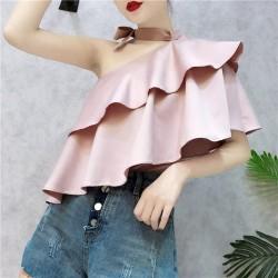 Ruffled Sleeve Skew Collar Summer Blouses  Asymmetrical