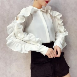 Ruffles Blouse Lapel Collar Off Shoulder
