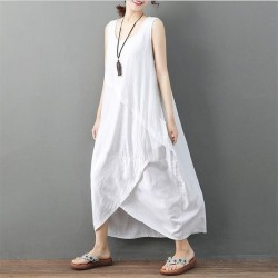 Casual Loose Midi O  Neck Sleeveless Plus Size Oversized Dress