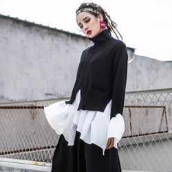 Turtleneck Flare Sleeve Ruffles Patchwork Draped Irregular Blouse
