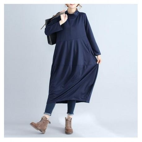 Casual Loose Long Sleeved Maxi Dress