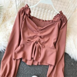 V-Neck Drawstring Tie Blouse Lantern Sleeve