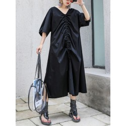 Drawstring Long Confortable Dress