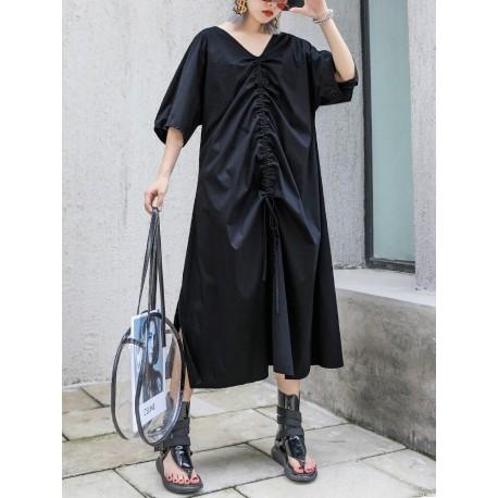 Drawstring Long Confortable Dress
