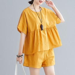 Short Sleeve Blouse and Short  2PCS Set