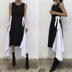 Drawstring Lace Pleated Dress