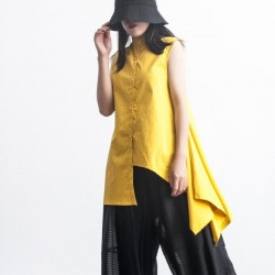Stand Collar Draped Irregular Long Yellow Blouse