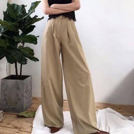 Wide Leg Pants High Waist Zipper Pocket Big Size