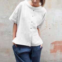 Short Sleeve Buttons  Casual Loose Style Blouses