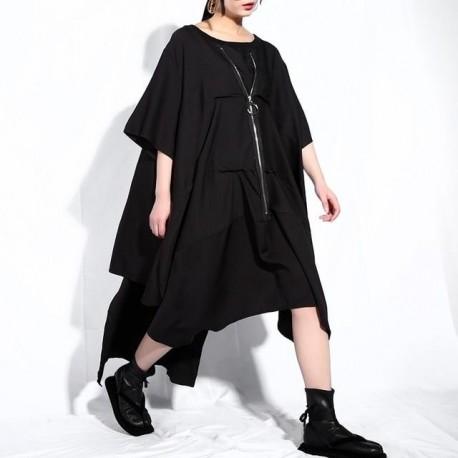 Drawstring  Zipper Big Size Irregular Dress