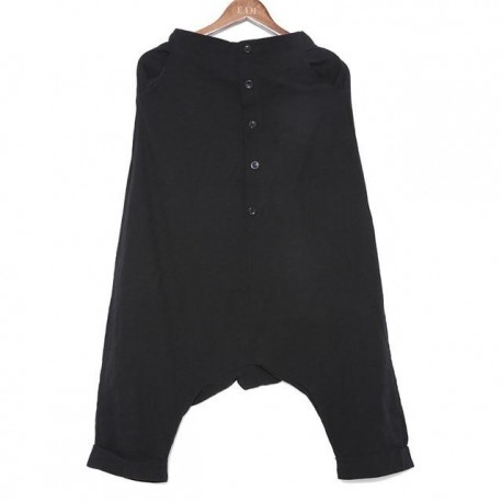 Button Split Joint Thin Loose Cross-pants