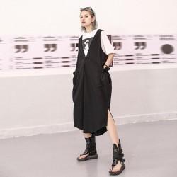 Drawstring Pocket Split Joint Vest Dress