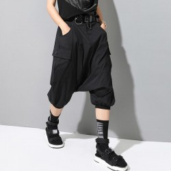 High Elastic Waist Loose Black Pocket Split Joint Harem Pants