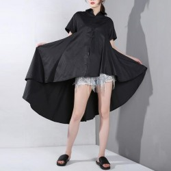 Irregular Hem Back Long Loose  Blouse