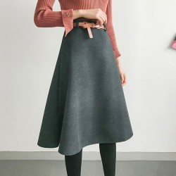 Knee Length Wide Hems  Empire Waist Skirt