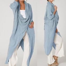 Cowl Neck Long Sleeve Loose Asymmetrical Plus Size Blouse