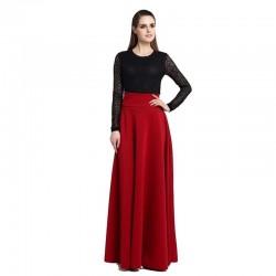 Long  Plus Size Ladies A-line Skirt