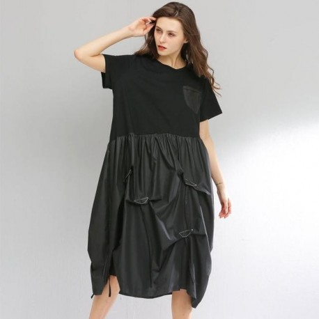 Fold Drawstring Stitch Big Size Dress