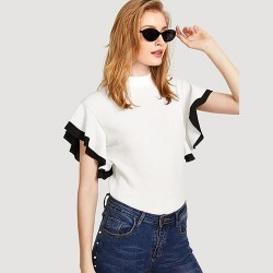 Ruffle Sleeve Stand Collar Colorblock Blouse