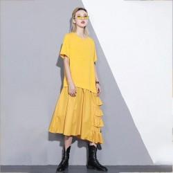 Half Sleeve Irregular Hem Oversized Dress