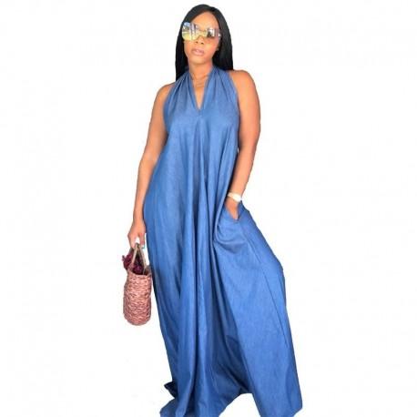 Halter Backless Long Maxi Denim Dress