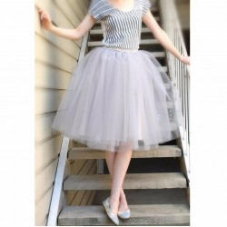 Pleated Puffy Tulle Skirt