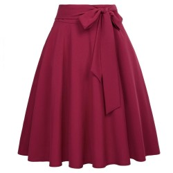 High Waist Self-Tie Bow-Knot A-Line Skirt
