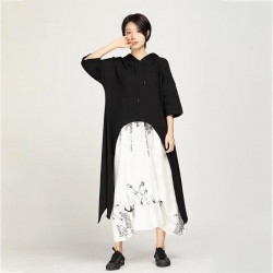 Hooded Half Sleeve Loose Oversize Mid-calf One Piece Dress
