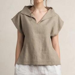 V Neck Short Sleeve Shirts Casual Tunic