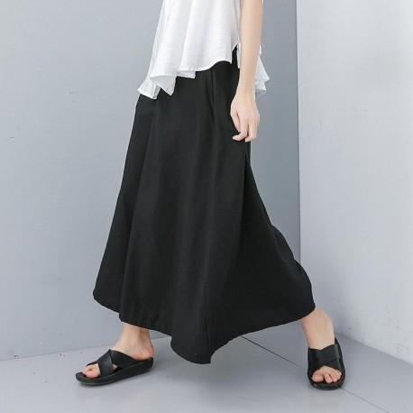 Waist Black Loose Long Wide Leg Pants