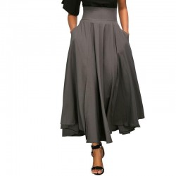 Waist Pleated Belted Maxi Skirt