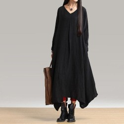 Irregular hem Long Dress V-Neck Maxi Long Sleeve   Dress