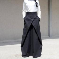 Pockets Pleated Satin Floor Length Maxi Skirt