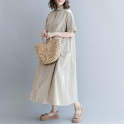 round neck Loose drawstring  dress