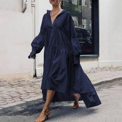 High Waist Belt Asymmetrical Dress