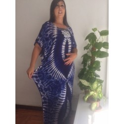 Blue Cotton summer dashiki dress  full lenght new blue embroidery dress