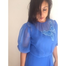 Size L/XL  blue embroidered musselin full lenght dress