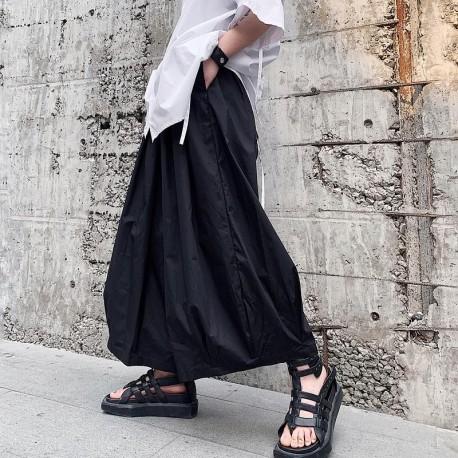 Men Loose Casual Black Wide Leg Pants