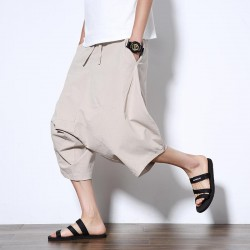 5XL Men's Wild Crotch Harem Pants Summer Baggy Pants Drawstring