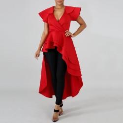 Women Red Long Ruffles Blouse Irregular
