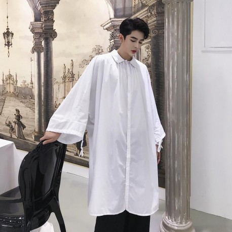 white long shirt Loose Bat Lantern Sleeve oversize tops with pockets