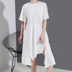 Shirt Dresses Simple Zipper Irregular dress solid color